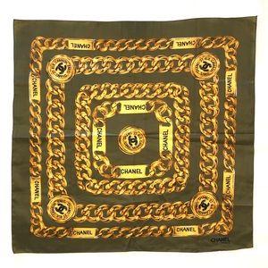 Accessories - Green Gold Chain & Logo Fashion Scarf